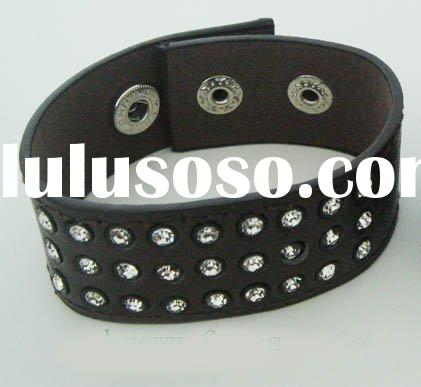 fashion jewelry, rhinestones genuine leather handmade bracelet