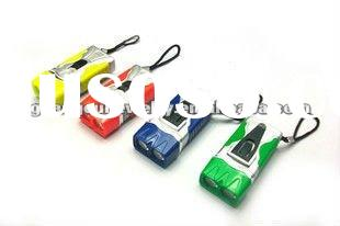 fashion mini led torch keychain light pvc keychain with led light key chain lighter ring