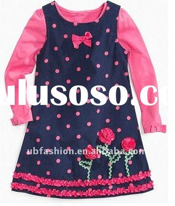 floral little embroidered corduroy girls clothing set