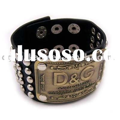 genuine leather bracelet with customer's brand name and logo ha14-49