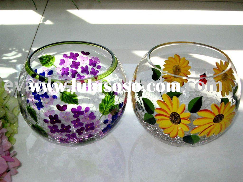 glassware handpainted glass candle holder