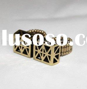 high quality two finger ring in 24K real gold plated
