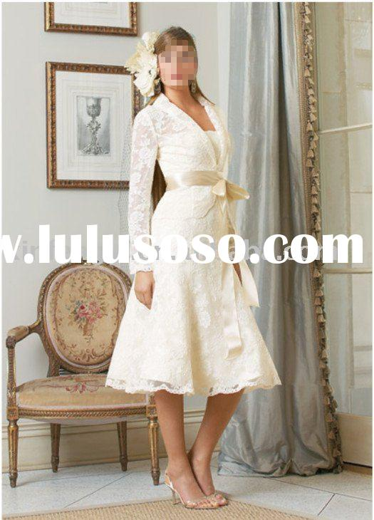 lace long sleeve short wedding dress