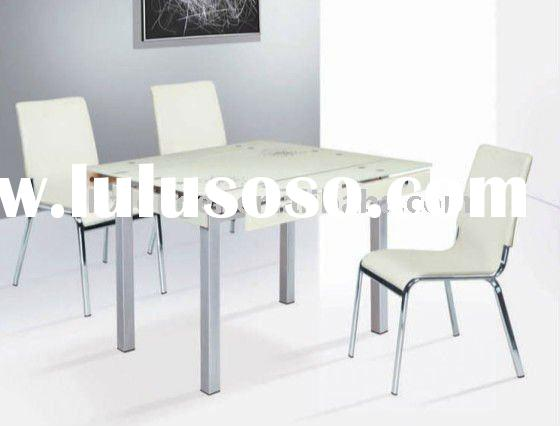 modern square extending tempered glass dining table