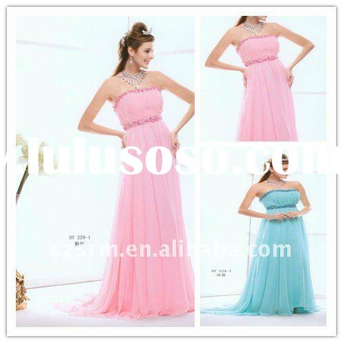 modest chiffion strapless long evening dress for woman