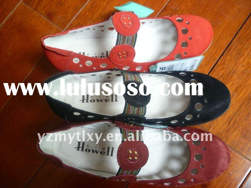 plain flat lovely lady leather casual shoes