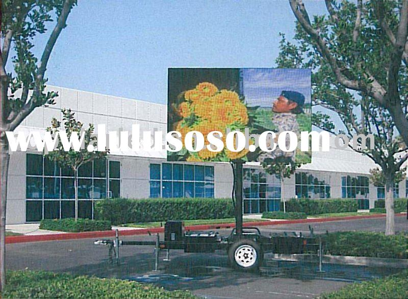 small size lift type led screen trailer