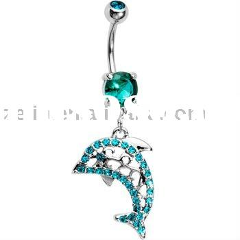 sparkling blue cubic zirconia gems dolphin dangle belly ring