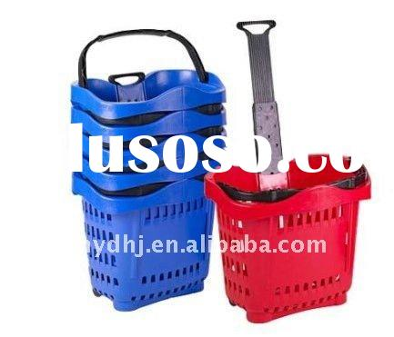 stretch handle plastic supermarket folding shopping basket with two wheels