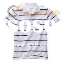 stripes short sleeve cotton polo shirt for men