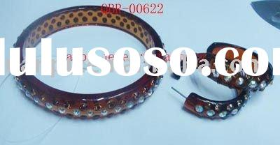 top quality popular resin studded crystal diamond bangle sets jewelry