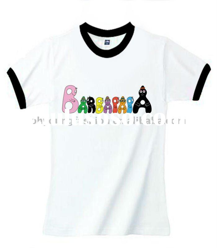 weird design white short sleeve t shirt with print different color o collar 160gsm