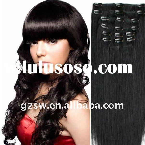 wholesale fashion high quality 1# 18 inch silky straight wave chinese hair clip in hair extensions f