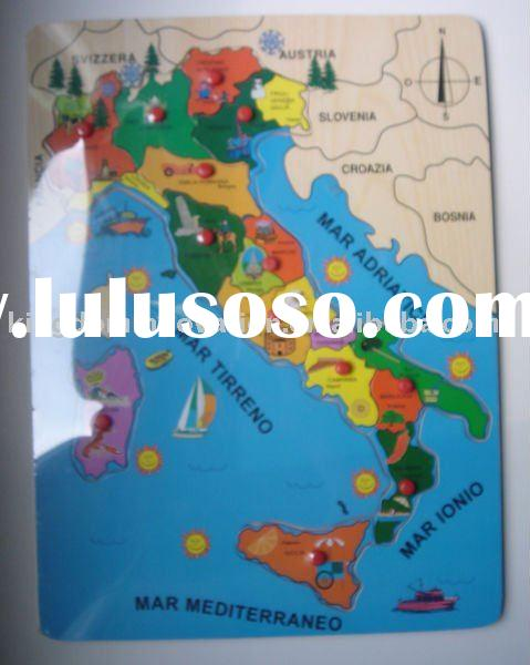 wooden jigsaw puzzle(Italy map design),map puzzle,wooden jigsaw puzzle,educational toy,wooden brain
