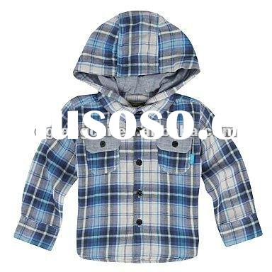 100% gingham cotton long sleeve hooded checked children shirt