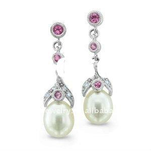 10k White Gold Natural Diamond Pink Tourmaline and Pearl Earrings