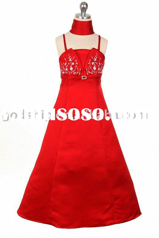 2011 Beautiful Girl Evening Gown Flower Girl Dress Red Color 0012