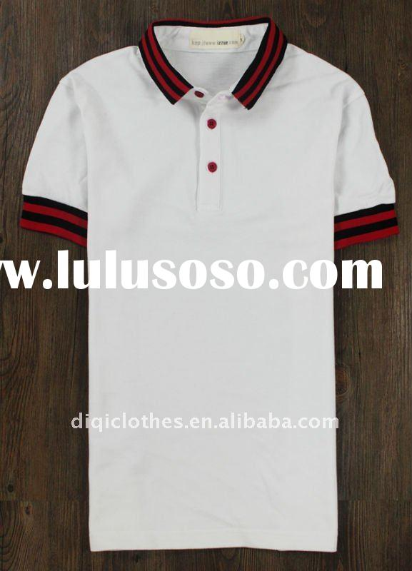 2012 White High Quality Cotton Plain Blank white Polo T-Shirt Sportswear in guangzhou