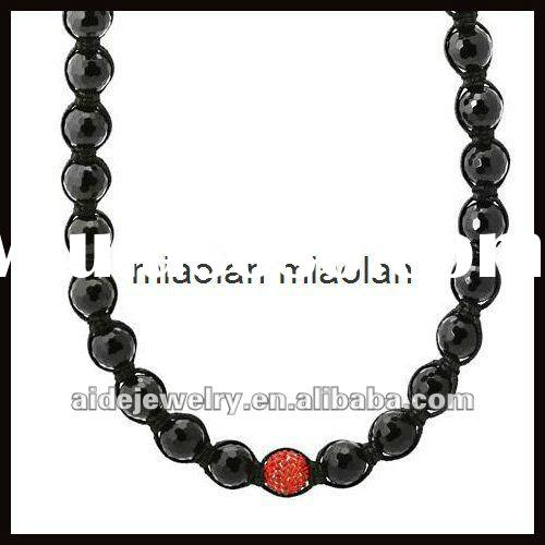"34"" 12mm Diamond Cut Red Disco Ball Bead Black Onyx Shamballa Inspired Necklace"