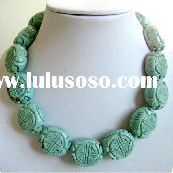Carved turquoise gemstone necklace flat oval beads TQN0043