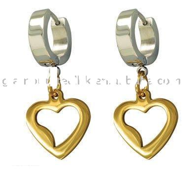 Charm gold color heart Earring fine stainless steel jewellery quality supplier
