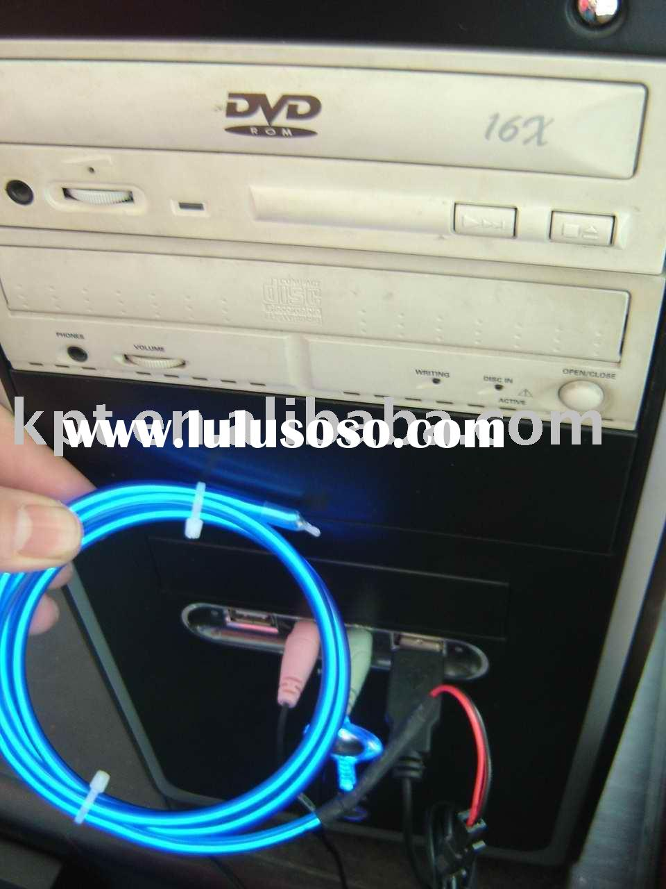 Computer decoration neon lighting rope cable,kpt neon chasing wire,USB connector neon decration