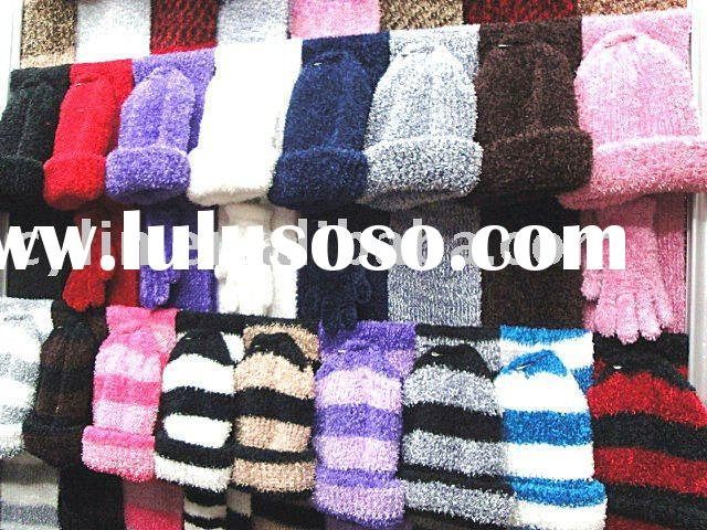 Fashion ladies woolen knitted hat & scarf set