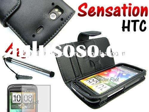 Genuine Leather Wallet Mobile Phone Case for T-Mobile HTC Sensation 4G