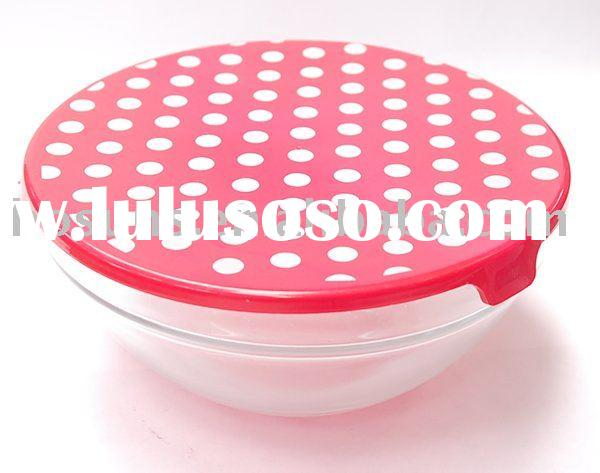 Glass food bowl with lids