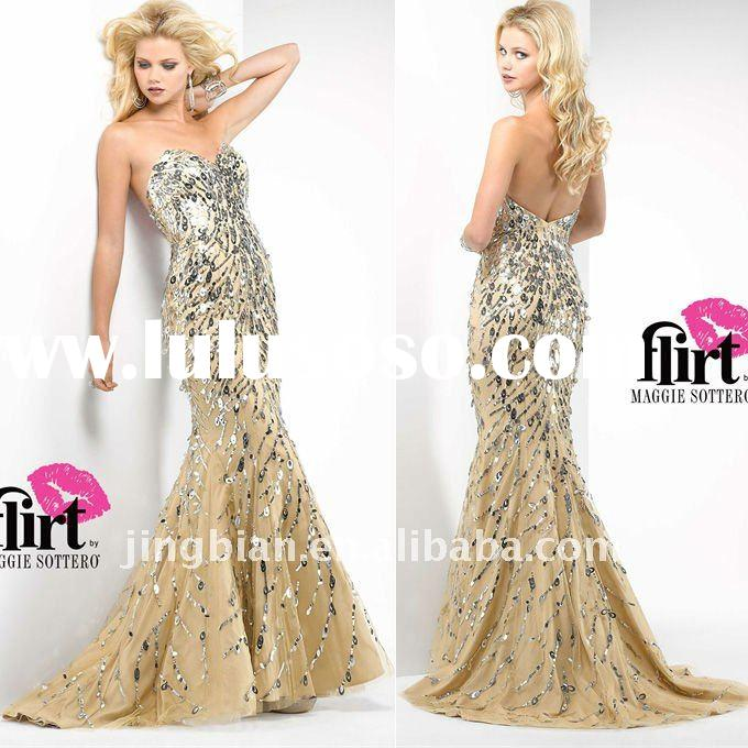 Gorgeous mermaid fashion party dress with spark sequins latest design evening dress 2012 hot sell fa