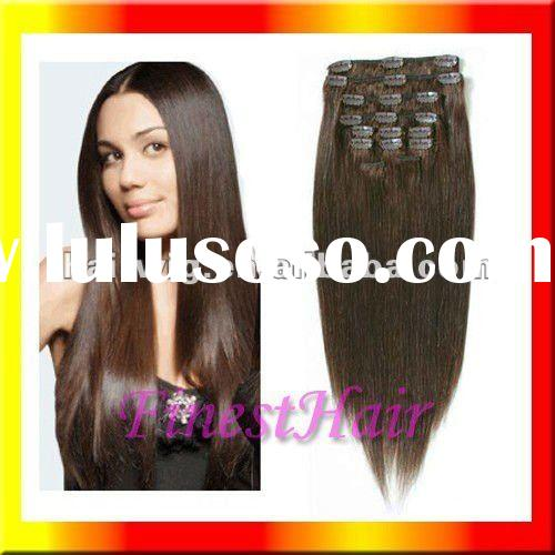 Human hair clip in hair extensions for black women
