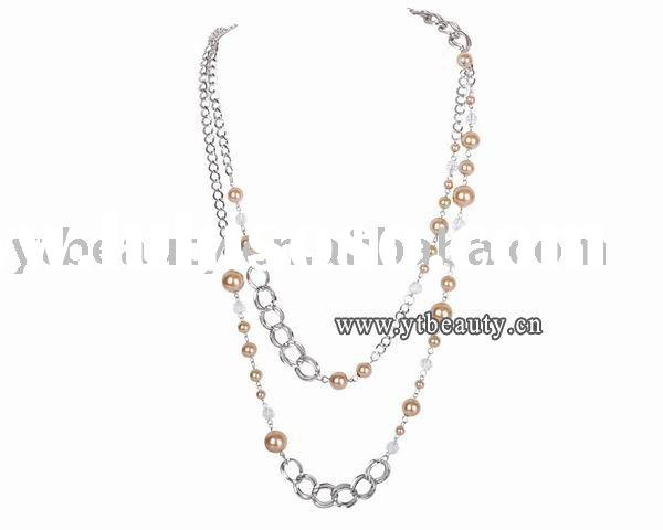 Lady/Girl Glass Pearl Beaded Necklace Linked Chain