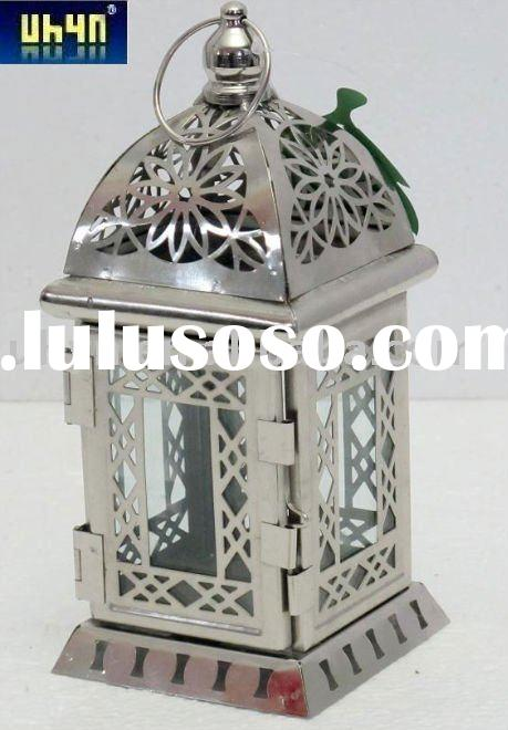 Moroccan Lantern Pewter and Glass