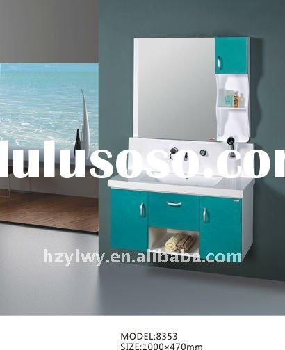 PVC furniture cabinet;&colored cultured marble top &framed mirror &antique handle (8353)