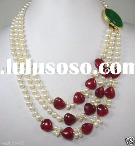 Real RED JADE WHITE PEARL NECKLACE 3 ROW