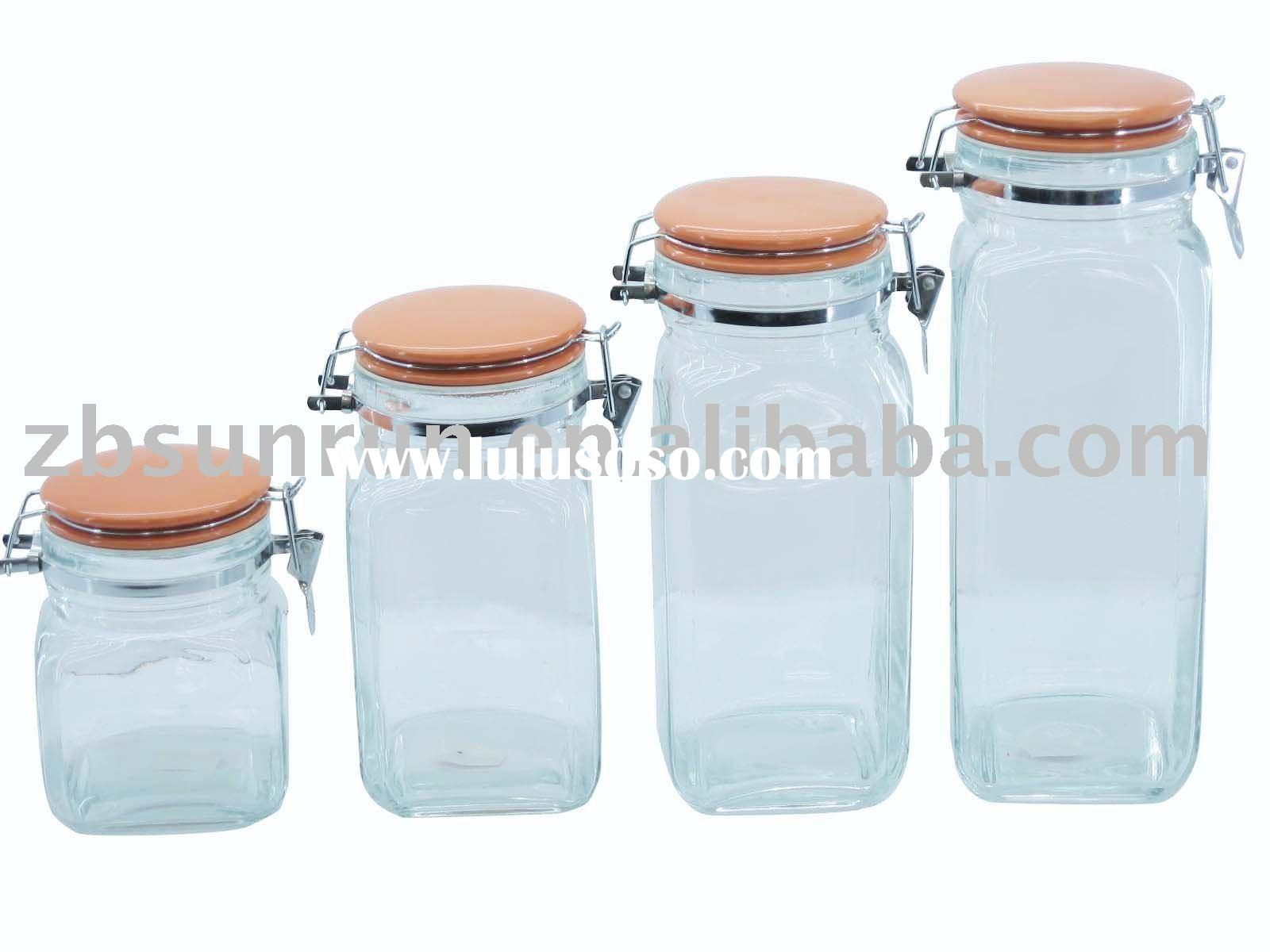 Square Glass Jar With Ceramic Lid&Metal Latch