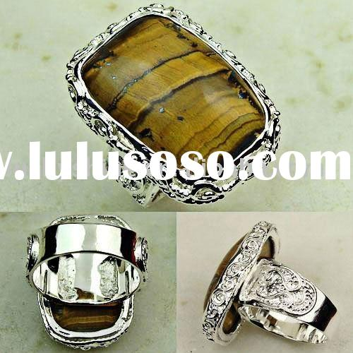 Suppry silver jewelry tiger's eye gemstone ring jewelry free shipping