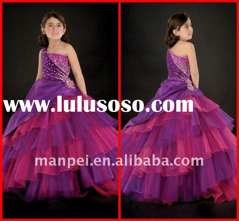 (H-31)Custom Made New Fashion Purple and Red Organza Beaded One-Shoulder Puffy Christmas Wholesale L