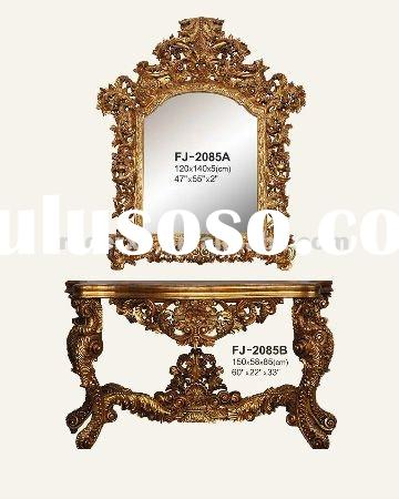console table and frame -2085 wood carved golden color antique finished