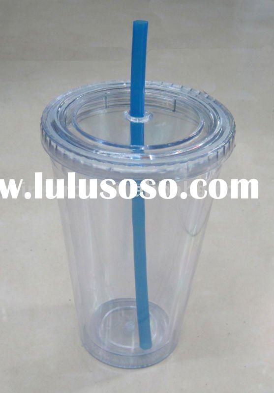 double wall plastic coffee cup with straw
