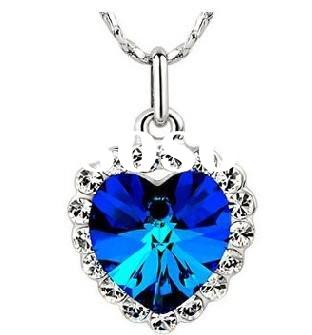 fashion blue color diamond heart charm necklace