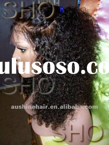 """hot sale! 100% human hair 12"""" jerry curl full lace wig in stock"""