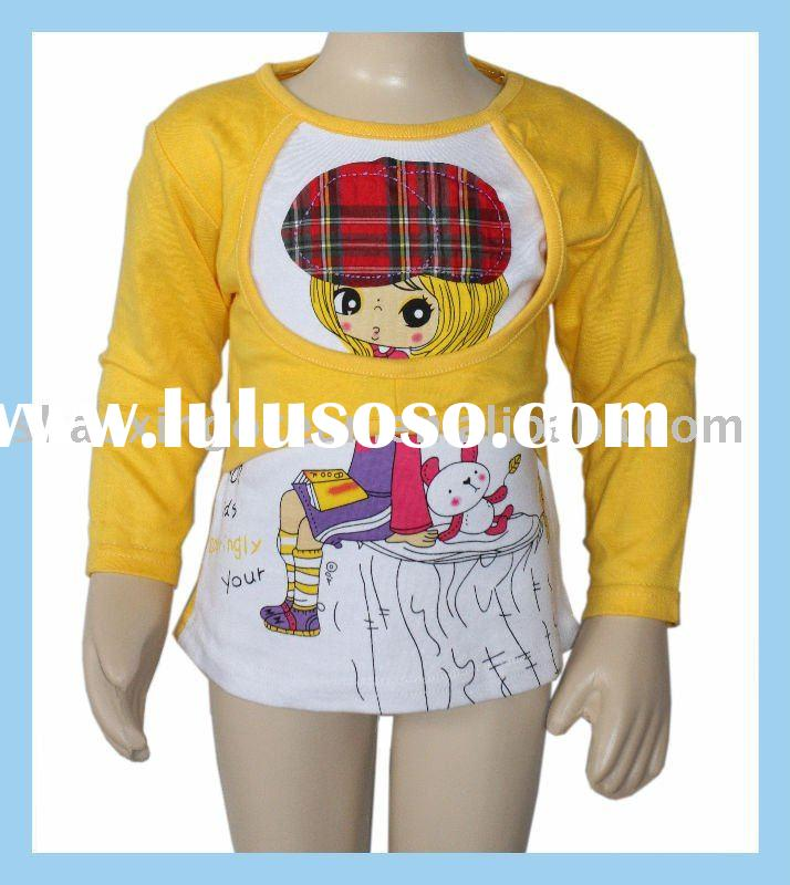 little girl's yellow long sleeve t-shirt