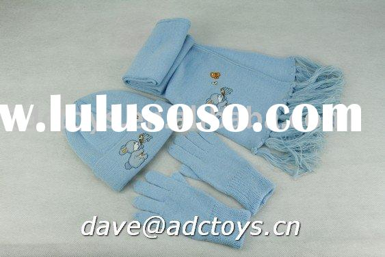 100% Acrylic Cheap Blue Jacquard Rabbit Applique Embroidery Fashion Kids Winter Knitted Scarf,Hat An