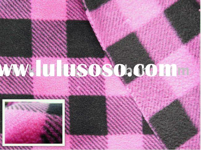 100% polyester Printed plaid polar fleece