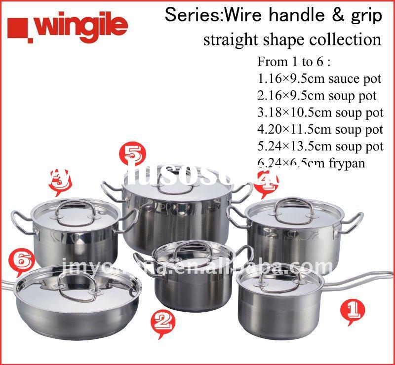 12 pcs Stainless Steel straight shape cooking pot set WGCW-S09