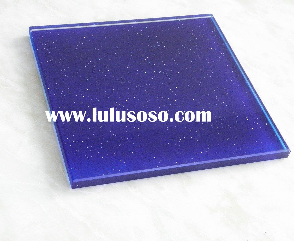 12mm blue shining tempered glass curtain wall