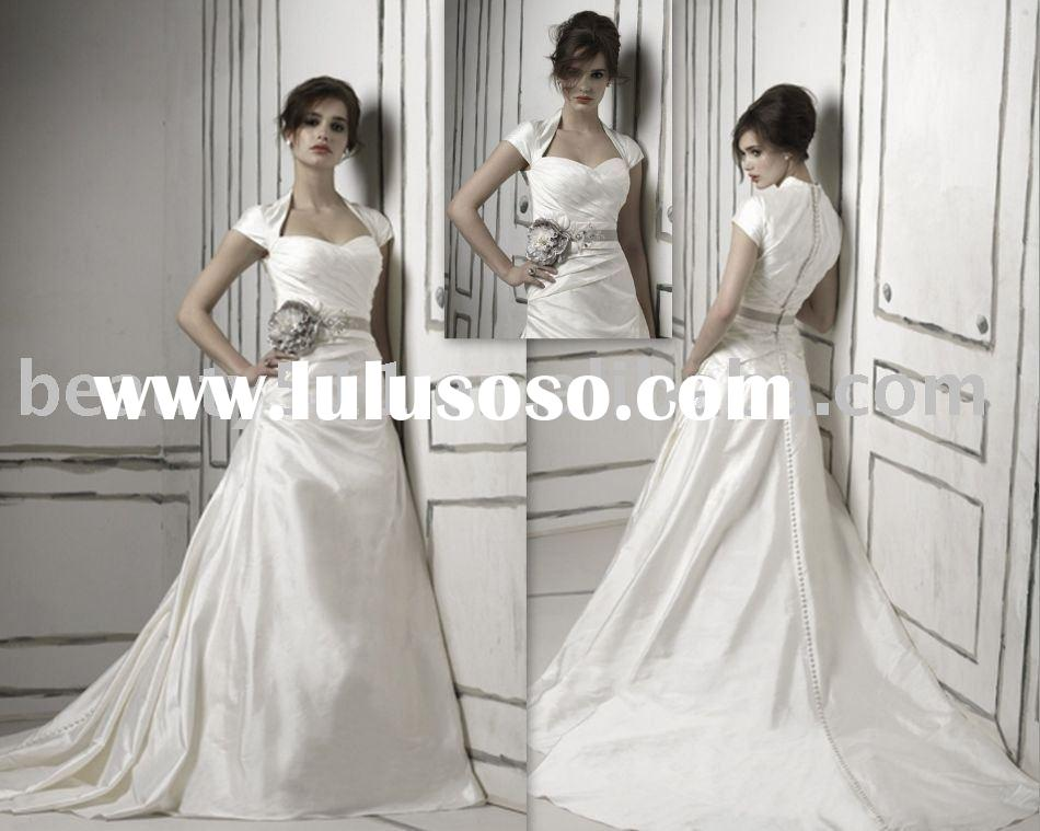 2011 elegant vintage satin long sleeve bridal dress wedding gown WDAH0562