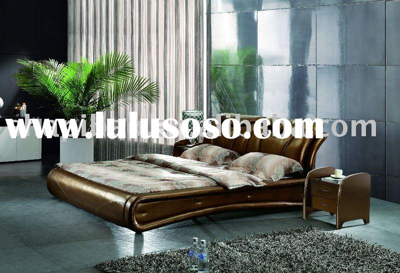 2011 modern bedroom furniture leather gray full size single double soft bed sets V9012