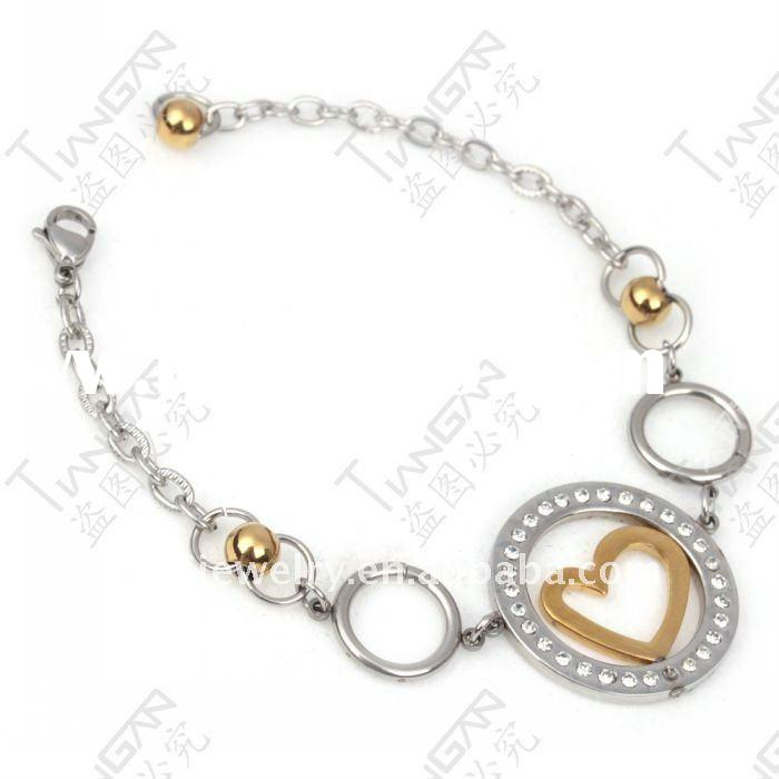 2011 new hot sale fashion gift girl&woman 316l stainless steel gold ball heart diamond bracelet